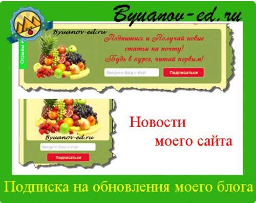 подписка на обновление сайта