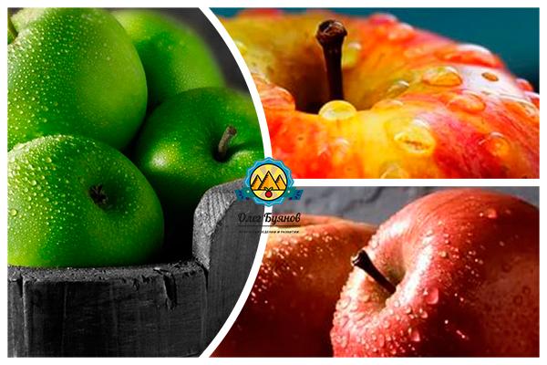 зелёные и красные яблочки