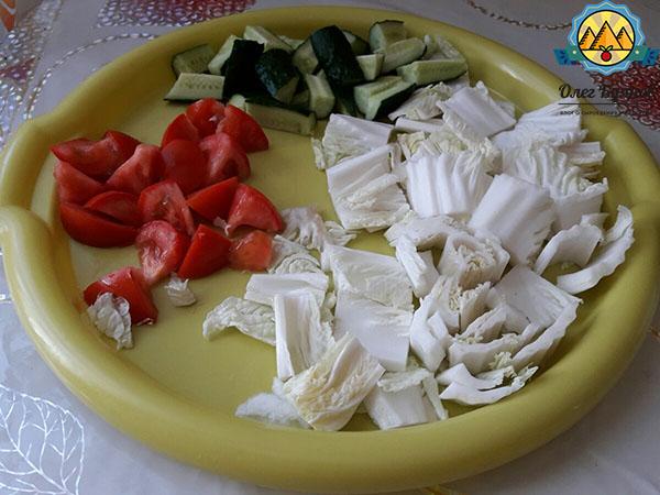 нарзанные овощи