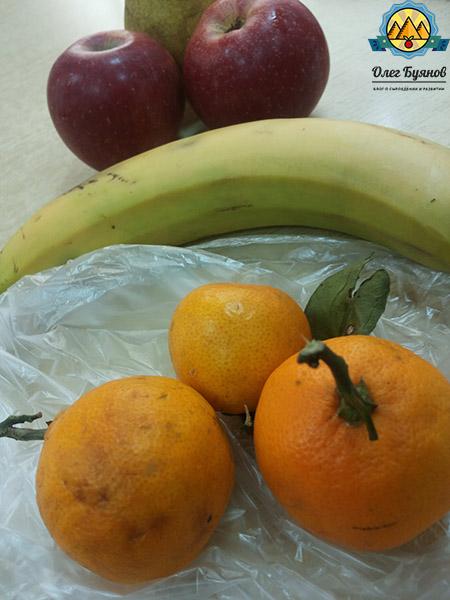 банан и мандарины