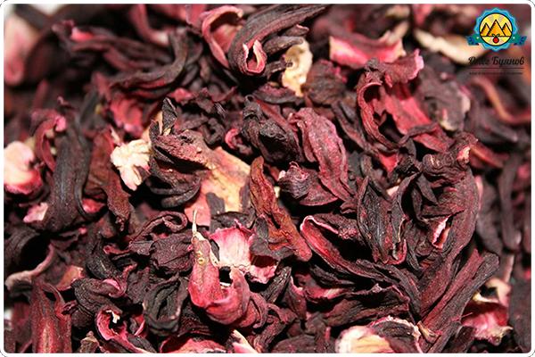 красные листья каркаде