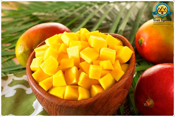 манго в тарелке
